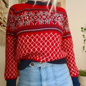 Vintage Sweaters - Vintage 70s red argyle knit sweater S